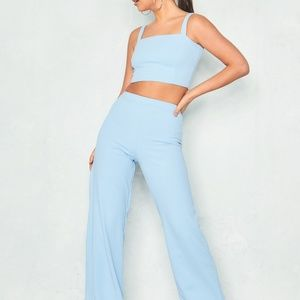 Tops - Missy Empire Blue Crop Top & Trouser Co-Ord Set